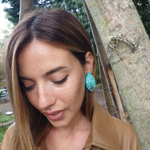 Statement Handmade Green and White River Hues with Sterling Silver Studs