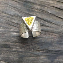 Load image into Gallery viewer, Geo Yellow Triangle Adjustable Hammered Ring Base Statement Ring Polymer Clay