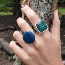 Load image into Gallery viewer, Adjustable Statement Ring Teal Green and Antique Silver