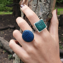 Load image into Gallery viewer, Blue Oceanic Circle Adjustable Ring Base with Inlaid Hand Textured Polymer Clay