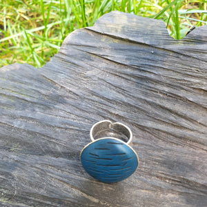 Blue Oceanic Circle Adjustable Ring Base with Inlaid Hand Textured Polymer Clay