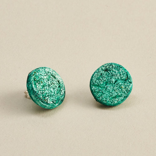 Round We Go Green Envy Polymer Clay Handmade Stud Earrings