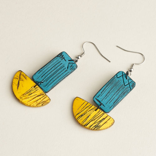Laila Isle Earrings - Teal and Yellow