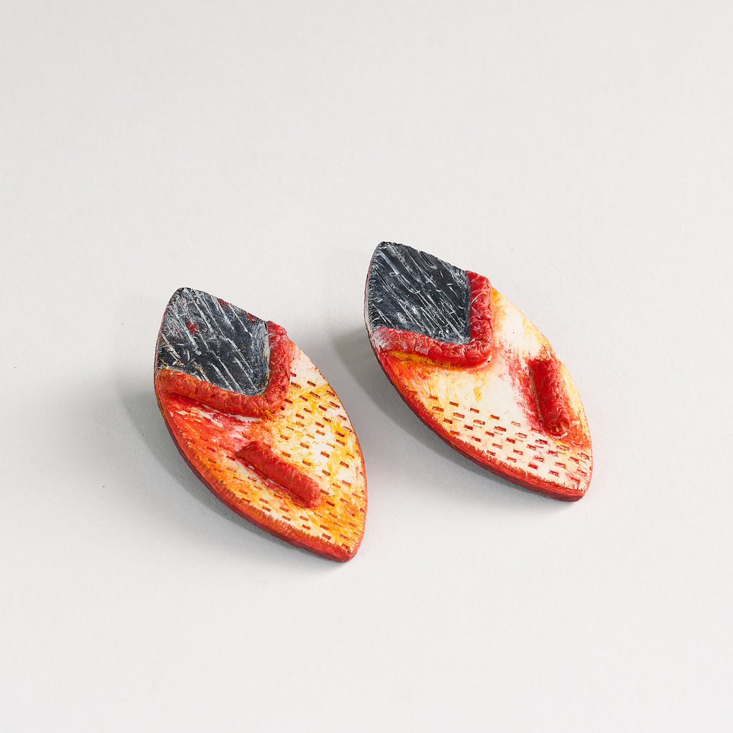 Statement Earrings Handmade Red and Yellow Autumnal Hues Sterling Silver Studs