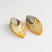 Load image into Gallery viewer, Handmade Statement Yellow and Black Sterling Silver Stud Earrings