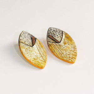 Handmade Statement Yellow and Black Sterling Silver Stud Earrings