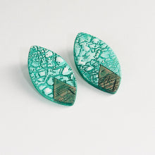 Load image into Gallery viewer, Statement Handmade Green and White River Hues with Sterling Silver Studs