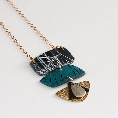 River Rays Handmade Polymer Clay Statement Teal and Metal Accent Pendant