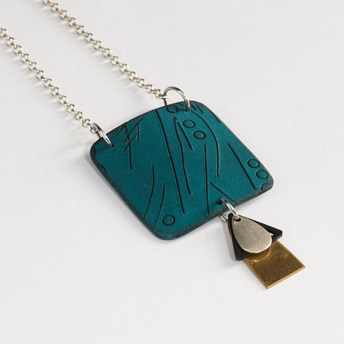 River Sets Handmade Polymer Clay Statement Teal and Metal Accent Pendant