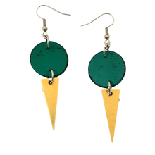 Load image into Gallery viewer, Geo Dot Strikes Isle Earrings - Green, Black and Gold