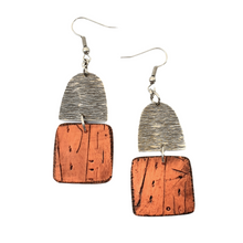 Load image into Gallery viewer, Orange and Silver Beach Hut Handmade Polymer Clay Statement Dangle Earrings