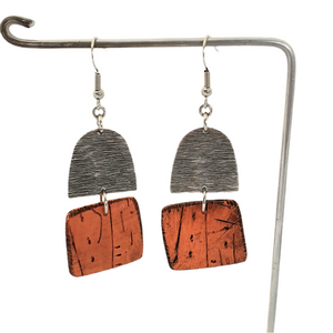 Orange and Silver Beach Hut Handmade Polymer Clay Statement Dangle Earrings