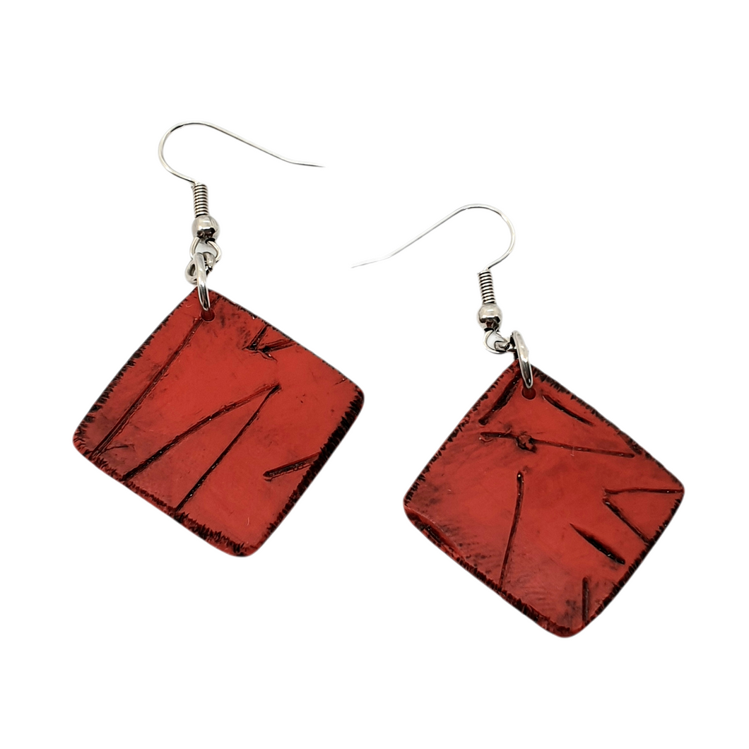 Kere Carved Earrings - Striking Red Squares
