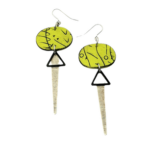 Odalys Strikes Earrings - Green, Black and Silver