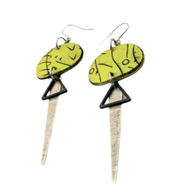 Load image into Gallery viewer, Odalys Strikes Earrings - Green, Black and Silver