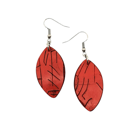 Red Autumnal Leaf Handmade Statement Dangle Earrings