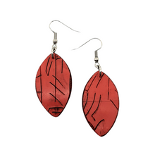 Load image into Gallery viewer, Red Autumnal Leaf Handmade Statement Dangle Earrings