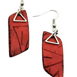Rhomba Handmade Earrings - Red