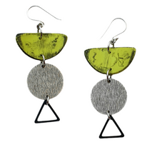 Load image into Gallery viewer, Moia Fiesta Earrings - Green and Silver