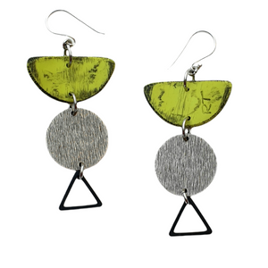 Moia Fiesta Earrings - Green and Silver