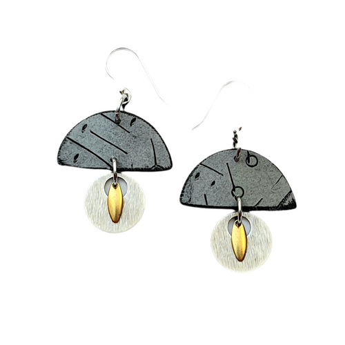 Moia Huts Earrings - Grey and Silver