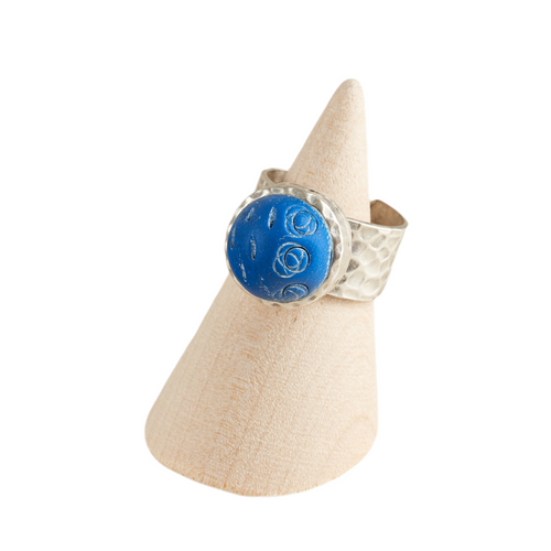 Blue Are Back Adjustable Hammered Ring Base Statement Ring Polymer Clay
