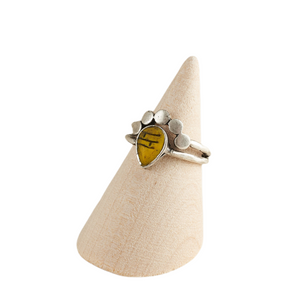 Yellow Teardrop Crown Adjustable Statement Ring Antique Silver