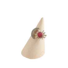 Load image into Gallery viewer, Summer Fun Pink Statement Ring Antique Silver Polymer Clay Inlaid