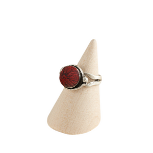 Rich Volcanic Geo Adjustable Ring Base with Inlaid Hand Textured Polymer Clay
