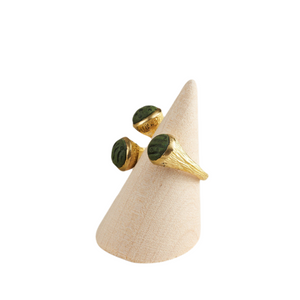 Oceanic Green and Gold Tone Brass Trumpet Adjustable Statement Ring