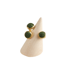 Load image into Gallery viewer, Oceanic Green and Gold Tone Brass Trumpet Adjustable Statement Ring