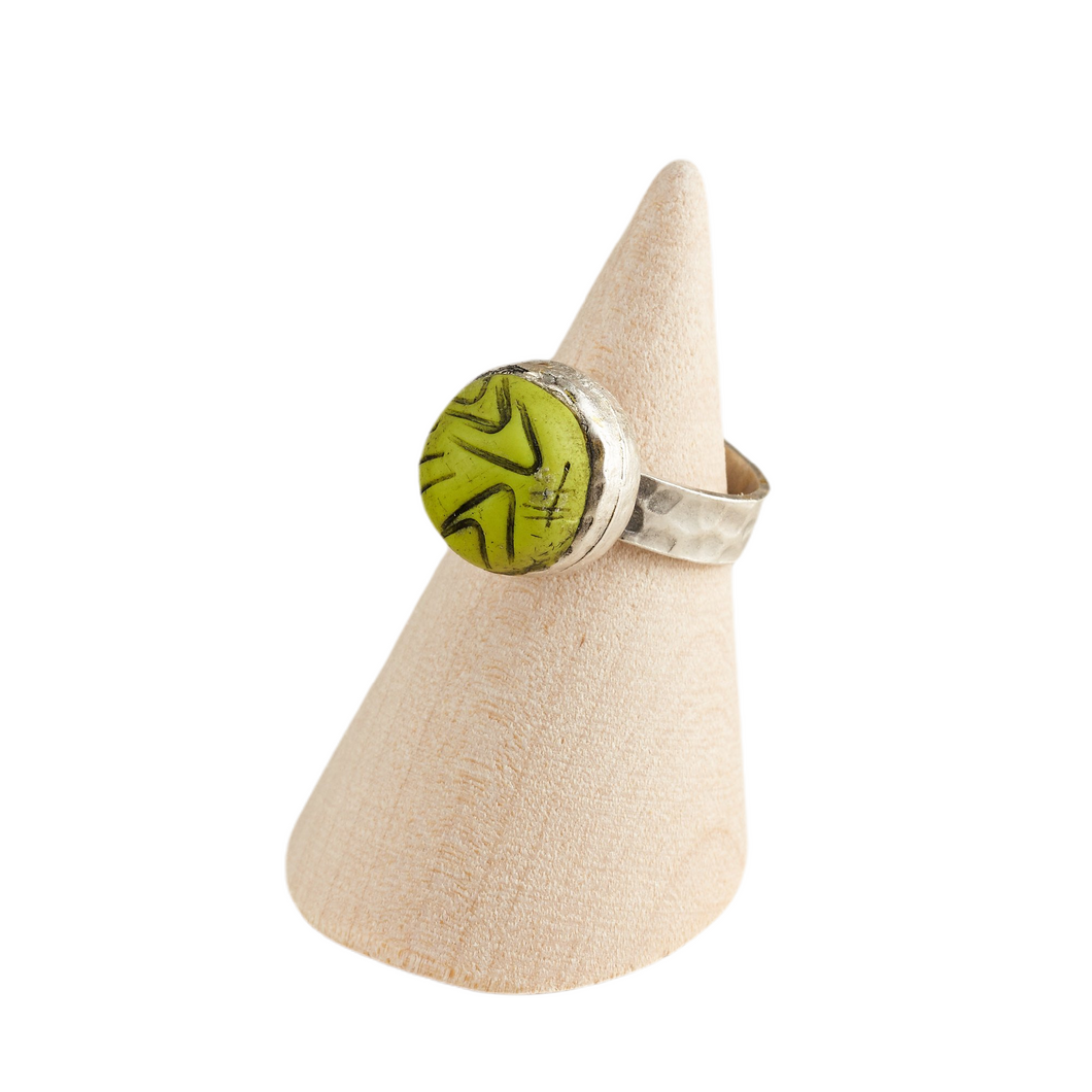 Lime Green Adjustable Ring Polymer Clay