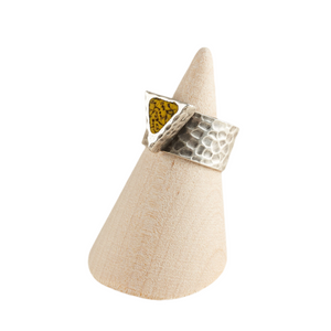 Geo Yellow Triangle Adjustable Hammered Ring Base Statement Ring Polymer Clay
