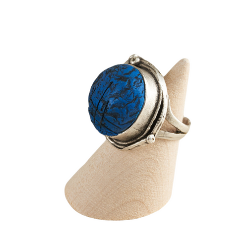 Blue Geo Circle Adjustable Ring Base with Inlaid Hand Textured Polymer Clay