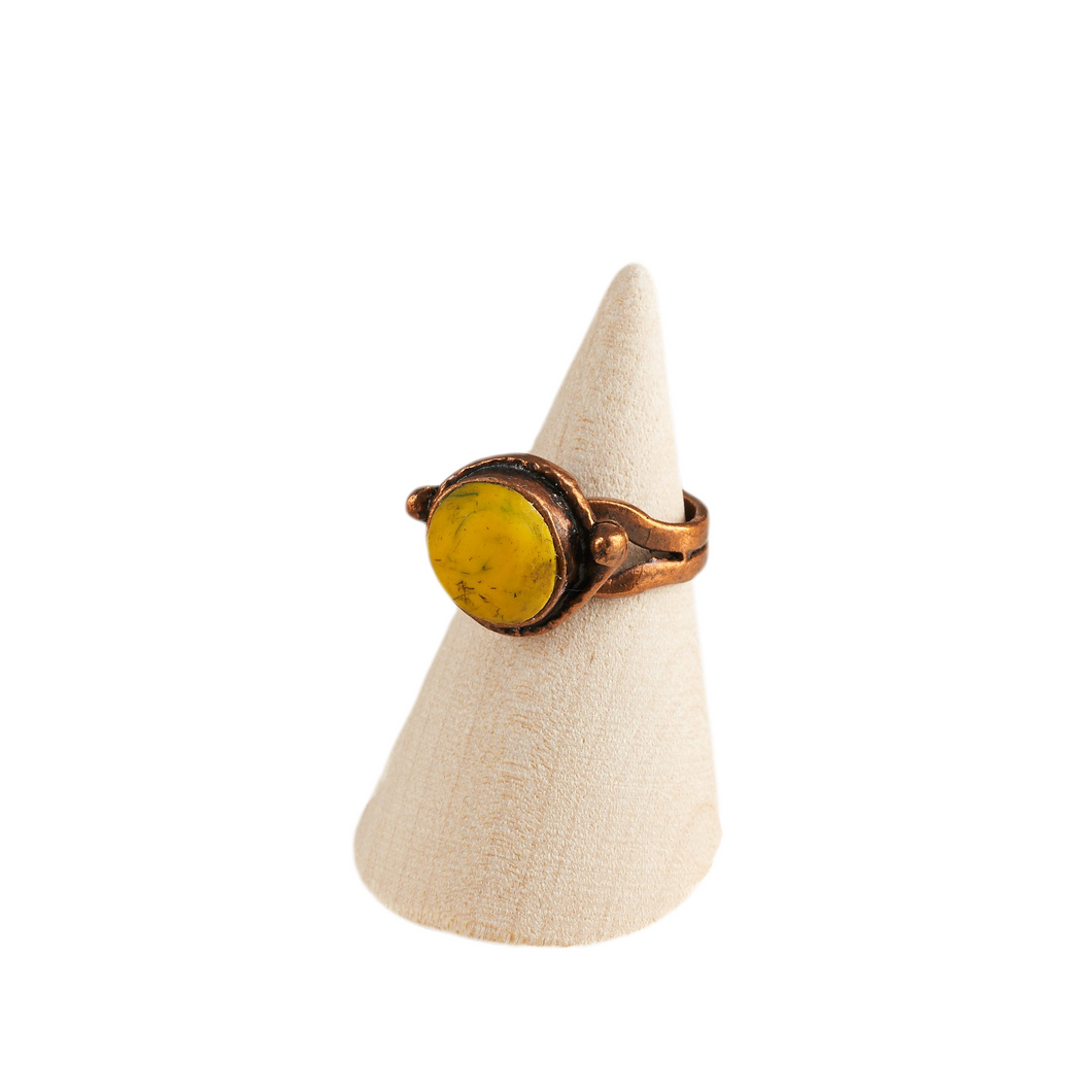 Energise with Copper Adjustable Ring Base with Inlaid Hand Textured Polymer Clay