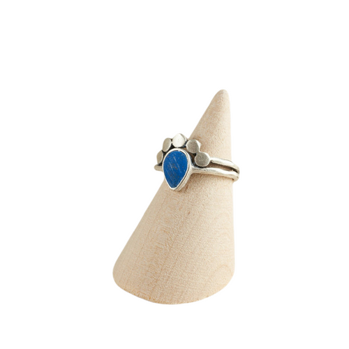 Blue Teardrop Crown Adjustable Statement Ring Antique Silver