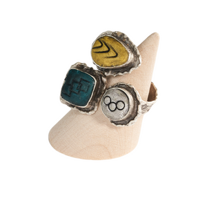 Geo Circle Adjustable Ring Base with Inlaid Hand Textured Polymer Clay
