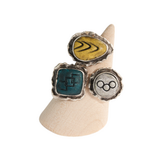 Load image into Gallery viewer, Geo Circle Adjustable Ring Base with Inlaid Hand Textured Polymer Clay