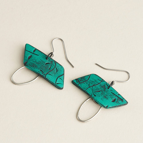 Rhonda Isle Earrings - Teal Green and Black