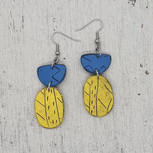 Load image into Gallery viewer, Beach Hut Yellow and Blue Handmade Unique Statement Polymer Clay Earrings
