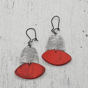 Red Huts Isle Collection Handmade Polymer Clay and Metal Statement Earrings