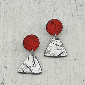Red and White Handmade Energising Geo Statement Stud Earrings