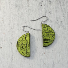 Load image into Gallery viewer, Lime Green Tropical Semi Circle Handmade Statement Dangle Earrings