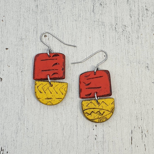 Sunsets Sunrises Yellow and Red Isle Polymer Clay Statement Earrings