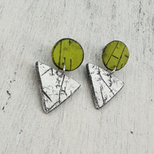 Load image into Gallery viewer, Geometric Green & White Nature Polymer Clay Handmade Statement Stud Earrings
