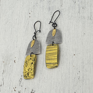 Yellow Beach Hut Handmade Polymer Clay Statement Dangle Earrings