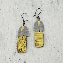 Load image into Gallery viewer, Yellow Beach Hut Handmade Polymer Clay Statement Dangle Earrings