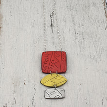 Load image into Gallery viewer, Sunsets and Sunrises a Colourful Polymer Clay Handmade Statement Pendant
