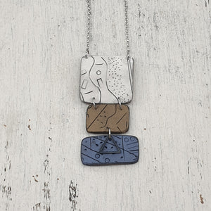 Seascapes Handmade Polymer Clay White Brown and Blue Pendant One of A Kind Necklace