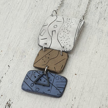 Load image into Gallery viewer, Seascapes Handmade Polymer Clay White Brown and Blue Pendant One of A Kind Necklace